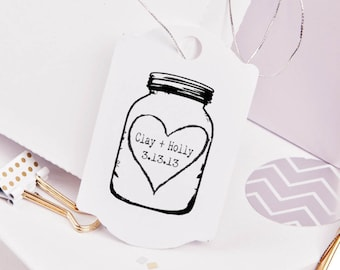 Mason Jar rubber stamp for DIY personalized wedding favors and tags 2 x 3 --5680
