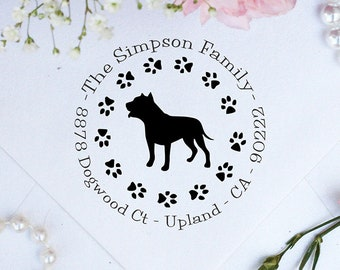 Pitbull Dog Stamp, Pitbull Lover Self Inking Custom Return Address Stamp, Cute Stamp for Pitbull Lover, Dog Stamp --10358-PI53-000