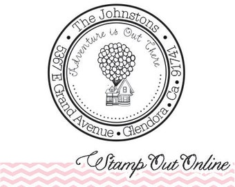 Custom UP Inspired Return Address Rubber Stamp Self Inking And Round 3699 FREE Shipping