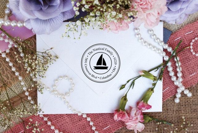 Custom Personalized Return Address Stamp, Rubber Wood Mount Clear Block Stamper, Fancy Monogram Address Stamp, Self Inking, Ink Pad --2451