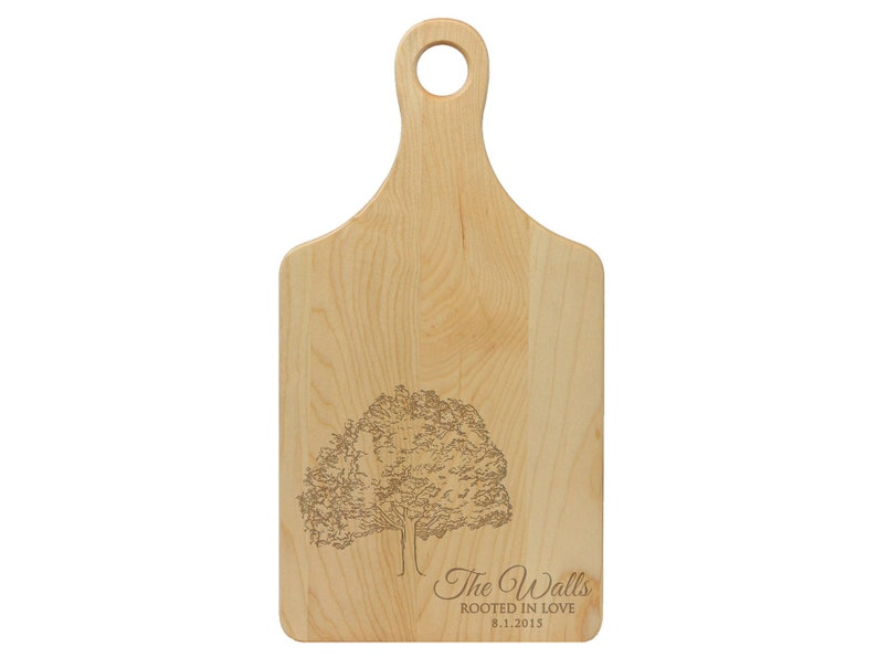 Anniversary Retirement Family Tree Rooted in Love Personalized MAPLE Paddle Cutting Board Custom Engraved Wedding --21017-PADB-022