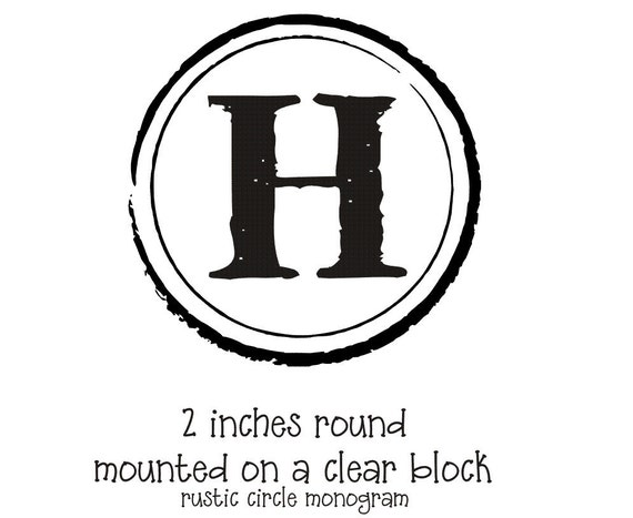 Monogram Rubber Stamp With A Rustic Antique Circle Border