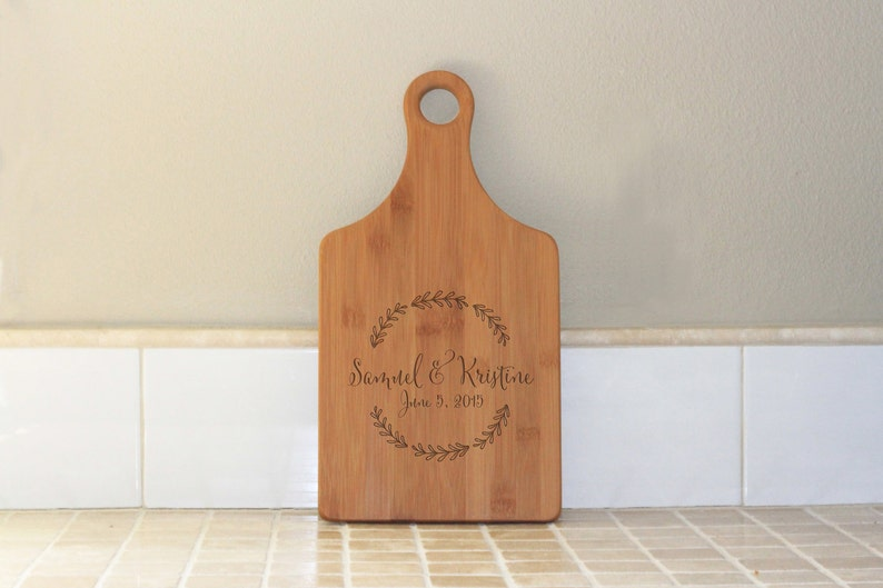 Custom Engraved Cutting Board Bamboo Wood --21050-PADB-001 Leaf Wreath Anniversary Housewarming Personalized Paddle Cutting Board