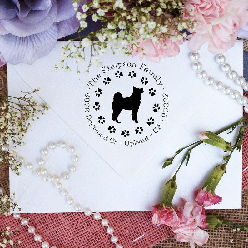 Dog Stamp --10341-PI53-000 Akita Lover Self Inking Custom Return Address Stamp Cute Stamp for Akita Lover Akita Dog Stamp