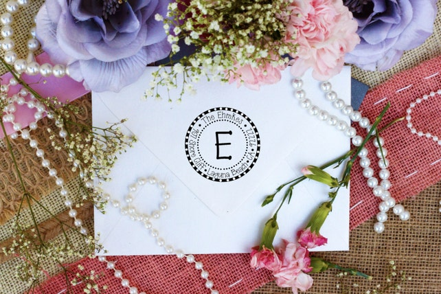 Custom Personalized Return Address Round Stamp, Rubber Wood Clear Block Stamper, Fancy Monogram Address Stamp, Self Inking, Ink Pad --2210