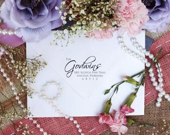 Personalized Custom Return Address Rubber Stamp, Wood Block, Clear Block, Fancy Wedding Address Stamper, Self Inking, Ink Pad --2416