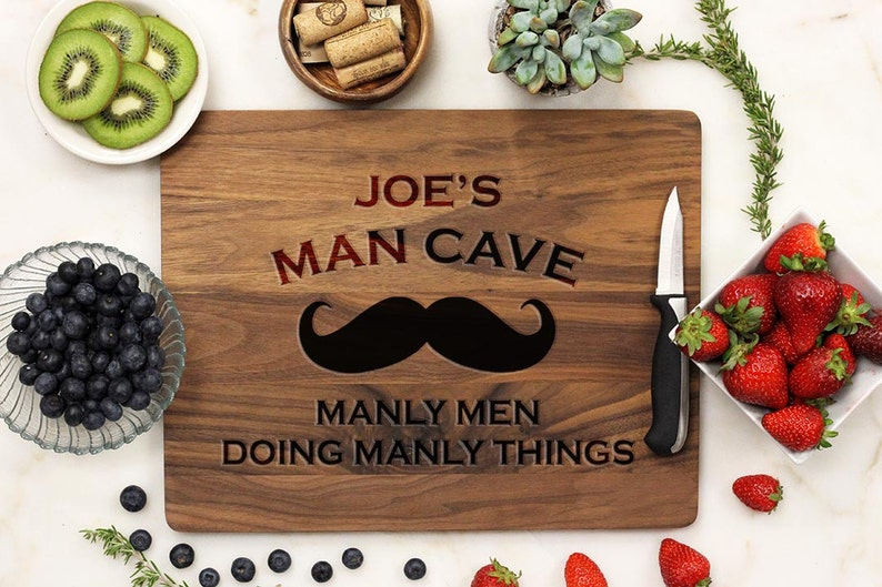 Man Cave Decor Personalized Cutting board Mustache Manly Cutting Board engraved Bamboo --21046-CUTB-001 Fathers Day Man Cave