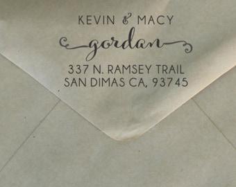 Return Address Stamp, Custom Personalized Stamper, Rubber Wood Mount Clear Block Stamp, Wedding Address Stamp, Self Inking, Ink Pad --3320