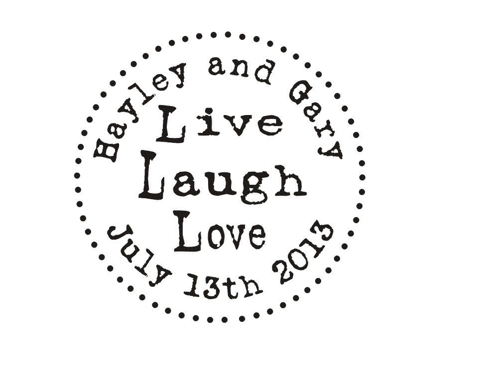 Diy Wedding Favor Rubber Stamp Live Laugh Love Custom Rubber Etsy