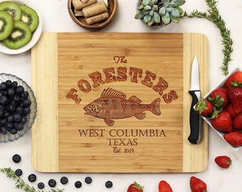 Personalized Cutting Board, Custom Engraved Cutting Board, Trout Fishing Gifts for Him Housewarming Bamboo Wood --21038-CUTB-001