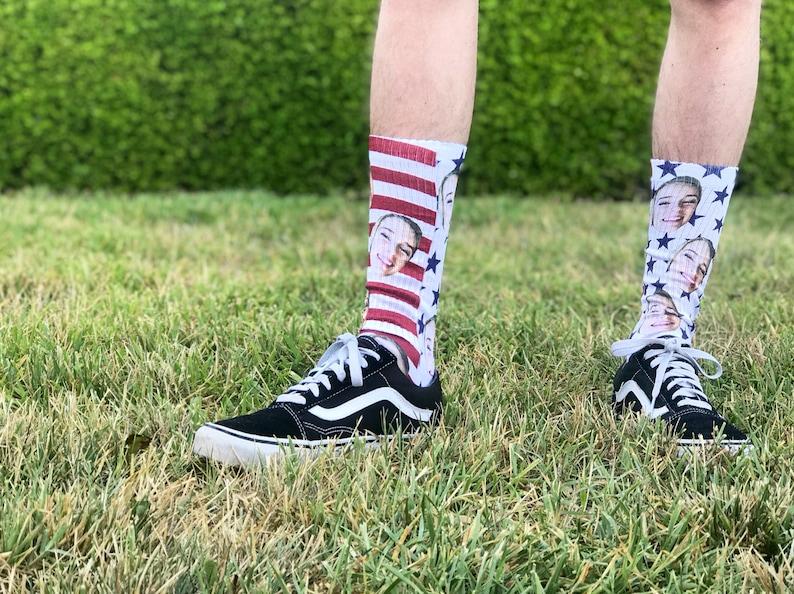 Custom Photo Socks --62220-LSX4-603 Custom Socks Personalized Socks Picture Socks Photo Gift American Flag Socks 4th of July Socks