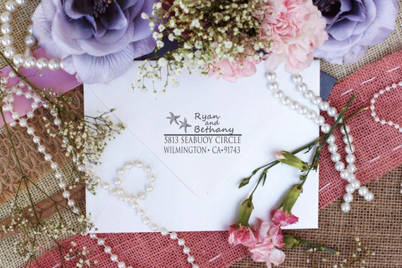 Self Inking Starfish custom rubber stamp ocean theme return address stamp --3080