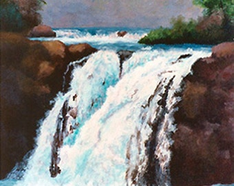 Fresh Waterfalls Original Painting