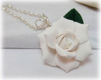 Beau White Gardenia Leaf Necklace   Gardenia Leaf Jewelry
