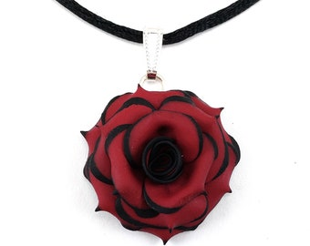 7f3be696479f Tipped Rose Necklace - Gothic Rose Choker