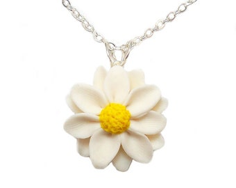 Summer Necklace Yellow White Green Jade Flower Daisy Pendant Asian Ceramic Porcelain Statement Big Bold Chunky Plus Size