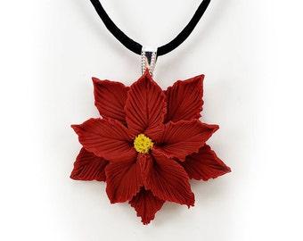 26de071cd Large Poinsettia Choker Necklace - Black Cord Choker, Poinsettia Necklace,  Poinsettia Jewelry
