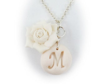 Charmant Personalized Gardenia Initial Necklace   Gardenia Letter Jewelry, White  Flower Letter Necklace