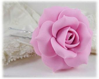 Pink Rose Hair Clip Pin - Pink  Rose Hair Flower, Pink Flower Hair Pin, Pink Wedding Hair Accessories