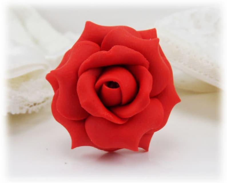 f75e358db6f Grande Rose rouge bague bijoux de Rose rouge fleur rouge