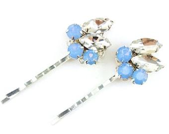 Blue Opal Hair Pins Set | Opal Blue Rhinestone Hair Clips | Dusty Powder Blue Wedding Hair Accessories | Opal Blue Hair Slides