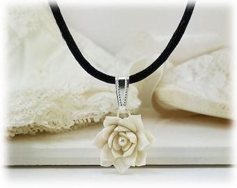 Lotus Tiny Flower Choker Cord Necklace | Black Cord Lotus Necklace | Lotus Jewelry | Waterlily Choker Necklace | Waterlily Jewelry