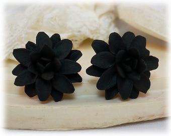 Black Dahlia Earrings Stud or Clip On - Dahlia Jewelry