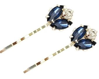 Navy Rhinestone Hair Pins Set | Navy Bridal Hair Accessories | Navy Wedding Hair Pins | Navy Rhinestone Hair Pins | Navy Headscarf Pins