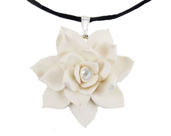 Lotus Black Cord Necklace | Large Lotus Choker Necklace |  Lotus Jewelry | Waterlily Jewelry | Waterlily Choker Necklace