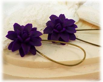 Purple Dahlia Dangle Earrings - Purple Dahlia Drop Earrings, Purple Flower Earrings
