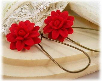 Red Dahlia Dangle Earrings - Red Dahlia Drop Earrings, Red Flower Earrings