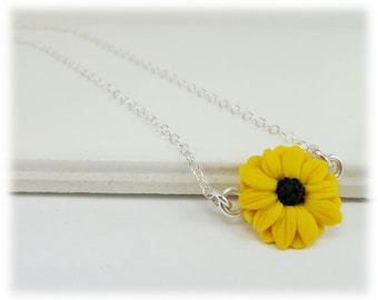 Tiny Black Eyed Susan Necklace - Black Eyed Susan Jewelry, Coneflower Necklace, Yellow Coneflower Jewelry, Petite Flower Charm Necklace