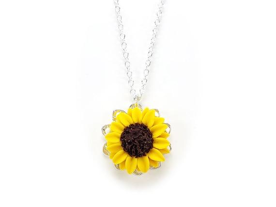 Sunflower Charm Necklace Sunflower Jewelry Simple Dainty