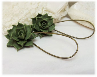 Succulent Dangle Earrings - Succulent Drop Earrings, Succulent Jewelry