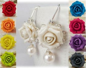 White Rose Pearl Earrings - White Rose Pearl Jewelry, White Flower Earrings, White Rose Statement Earrings