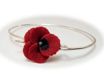 Pansy Bracelet Sterling Silver Bangle - Pansy Jewelry