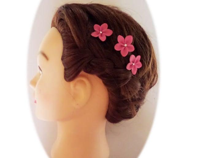 Pink Hair Flowers Pink Flower Hair Pins Pink Wedding Hair Flowers