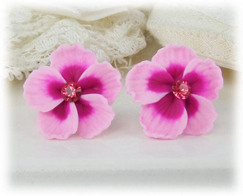 Pink Hibiscus Earrings Stud Or Clip On Pink Hibiscus Etsy