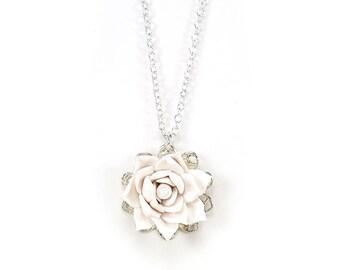 Lotus Charm Necklace -Lotus Jewelry, Simple Lotus Necklace, Minimalist Lotus Wedding Jewelry, Filigree Lotus Necklace