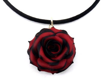 Tipped Rose Necklace - Gothic Rose Choker, More Colors, Tipped Rose Jewelry