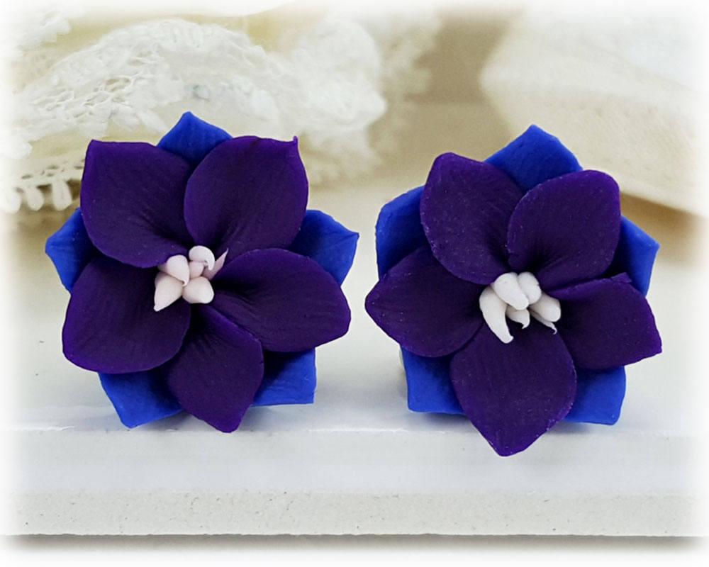 Purple Larkspur Earrings Stud Or Clip On Larkspur Jewelry Etsy