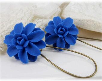 Blue Dahlia Dangle Earrings - Blue Dahia Drop Earrings, Blue Flower Earrings