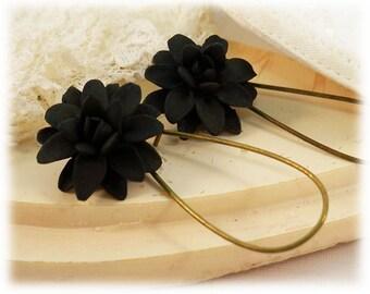 Black Dahlia Dangle Earrings - Black Dahlia Drop Earrings, Black Flower Earrings