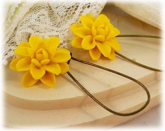 Yellow Dahlia Dangle Earrings - Yellow Dahlia Drop Earrings, Yellow Flower Earrings