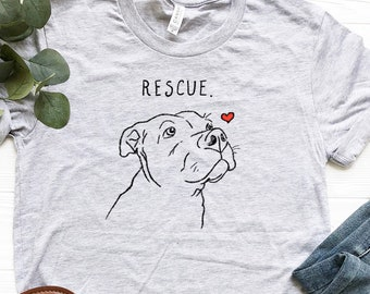 5d0338a3 Rescue Love T-Shirt, Pitbull Shirt, Dog Shirt, Women's T-Shirt, Rescue Mom,  Adopt Don't Shop Shirt, Pitbull Lover Shirt, Cute Pitbull Shirt
