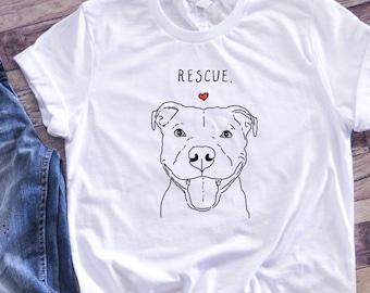Rescue Dog T-Shirt, Pit bull Shirt, Dog Shirt, Rescue Mom, Adopt Don't Shop Shirt, Pitbull Lover Shirt, Cute Pittie Shirt, End BSL