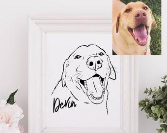Custom Pet Portrait, Pet Sketch, Digital Line Drawing of Pet, Pet Wall Art, Framable Pet Portrait, Pet Art, Dog Portrait, Cat Portrait