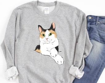 Calico Sweatshirt, Calico Shirt, Calico Mom, Calico Dad, Calico Lover, Calico Cat Shirt, Calico Gift, Calico Cat Portrait, Smiling Cat