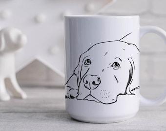 Sleepy Labrador Retriever Mug, Lab Sketch Mug, Lab Lover Gift, Lab Mom Gift, Lab Dad Gift, Lab Lover Mug, Yellow Lab, Black Lab, Dog Lover