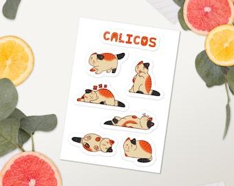 Calico Sticker Sheet, Cute Calico Stickers, Cute Cat Stickers, Funny Cat Stickers, Calico Gifts, Cat Gifts, Cat Mom Gift, Calico Mom Gift
